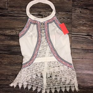 White halter lace tribal top